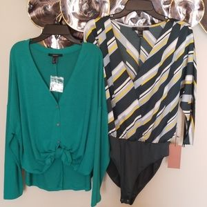 Nwt 2 shirts one with attached bodysuit.